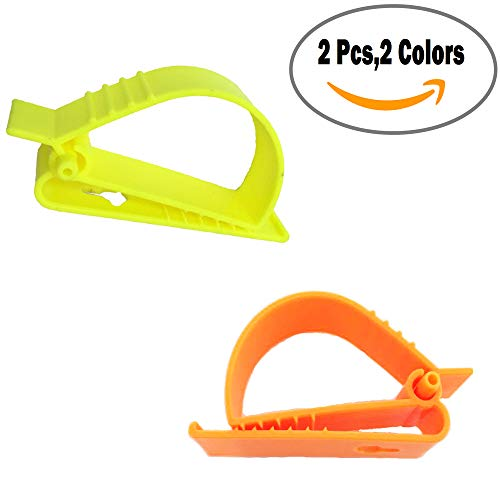2Pcs Pack Orange and Yellow Sino-Max S002-2YO Belt Hook Glove Clip Carrier Accessory, Utility Catcher Clip Belt Clip Attachment For Gloves,Hard Hats, Ear Muff Clip, Helmets,With Belt Clip
