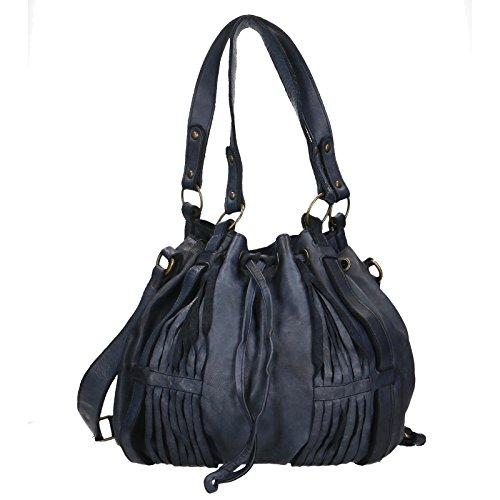 Chicca Borse Luxury Edition Shoulder Bag Vintage Borsa a Spalla da Donna in Vera Pelle 100% Genuine Leather 40x27x14 Cm