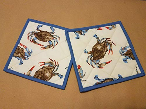 - Nautical Potholders, Set of 2, Quilted Trivets, Hot Pads, Realistic Blue Crab, Coastal Kitchen Theme, Beach House, Nautical Kitchen Gifts, Gifts Under 20, Hostess Gift, Beach House Decor