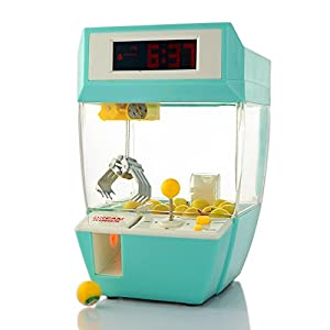 Powshop Mini Arcade Electronic Crane Claw Game Claw Grabber Balls Candy Machine Grabber Toy Creative Alarm Clock with Sounds, Coins and Balls for Children(Green)