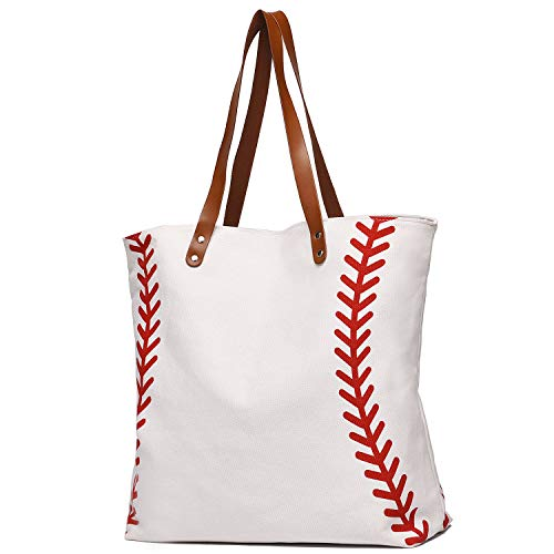 I IHAYNER Large Baseball Tote Bag Sports Printing Utility Top Handle Casual Shoulder Bag White Large