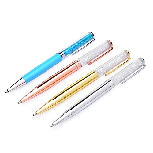 tal Ballpoint Pen Bling Diamond Pens with 12 Extra Black Refills for Office Supplies (4pcs Pens) ()