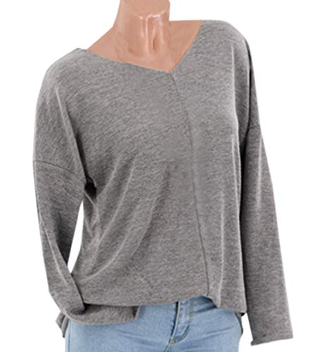 Couleur Jumpers Unie Blouses Shirts et Tops Automne Sweat Shirt Hauts Pulls Manches Gris Pullover V T Femmes Printemps Longues Casual Col Tee TpPqZCWw6