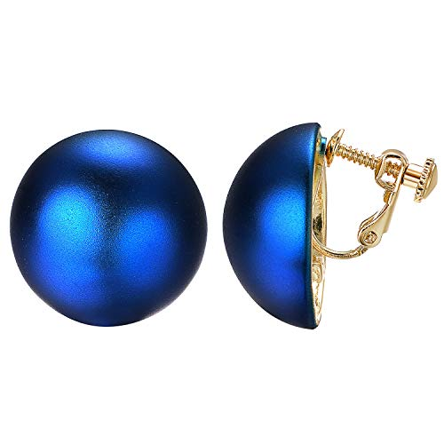 - Yoursfs 1960s Clip Earrings for Women Blue Button Style Clip Earrings Vintage Clip Ons