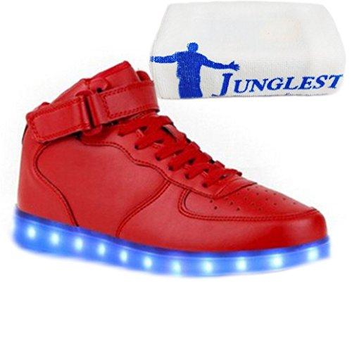[Present:kleines Handtuch]JUNGLEST® Frauen Männer High Top USB Lade LED leuchten Schuh Blink P Rot