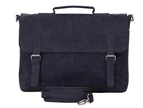 KomalC 15 Inch Black Retro Buffalo Hunter Leather Messenger Bag | Office Briefcase | College Bag | Laptop Bag