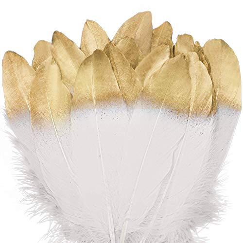 UNEEDE 42 Pcs Gold Dipped White Glitter Feather Goose Real Feather Christmas Decoration Natural Craft Art Soft Native Feather Accessories for Christmas, DIY, Party, Wedding, Dream -