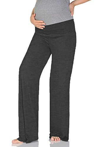Beachcoco Women's Maternity Wide/Straight Comfortable Pants (M (Straight), Charcoal)