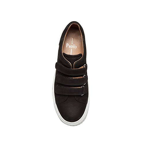 Leather Retro Strap Nubuck Paolo Grace Sneaker Leather Black Sneakers Linea Velcro Womens qOcY0wXwa