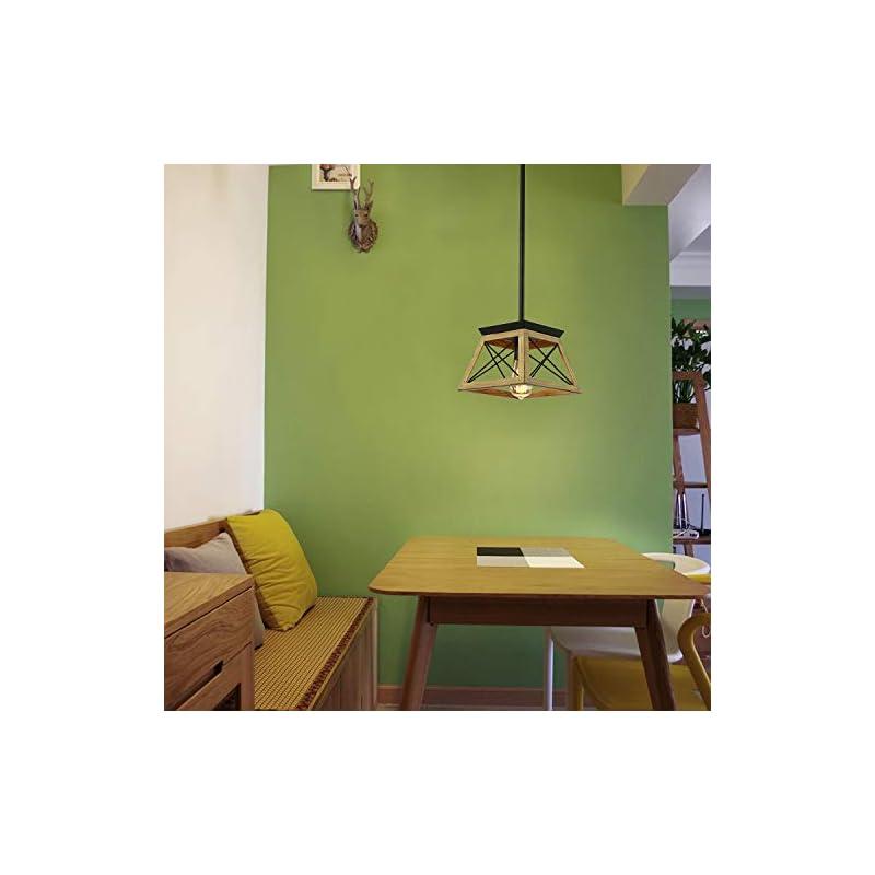 Luupyia Farmhouse Pendant Light Fixture, Adjustable, Single Hanging Light, Square Rustic Chandelier Lighting, Farmhouse…