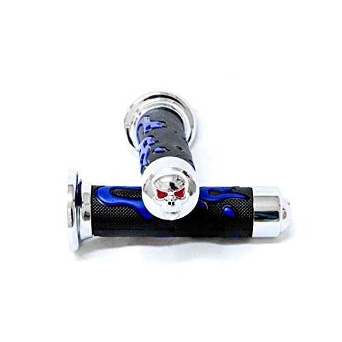 Krator ATV/PWC Chrome Skull Hand Grips Blue Flame Grip For Yamaha Blaster
