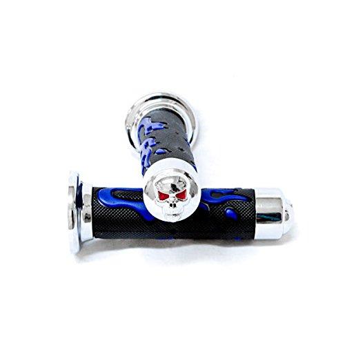 Krator ATV / PWC Chrome Skull Hand Grips Blue Flame Grip For Yamaha Blaster