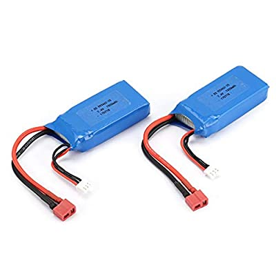 Pudincoco 2pcs 7.4V 1500mAh Lipo Battery T Plug For Wltoys 12423 12428 RC Crawler Car(Blue)