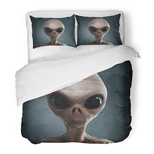SanChic Duvet Cover Set Blue Ufo Alien 3D Gray Eye Decorative Bedding Set with Pillow Sham Twin Size by SanChic