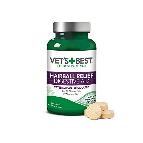 Vet's Best Cat Hairball Relief Digestive Aid| Vet Formulated Hairball Support Remedy | Classic Chicken Flavor | 60 Chewable -