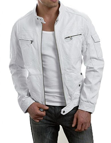 Mens White Leather Motorcycle Jacket - 2