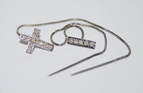 Boho style 0.60ctw Pave Diamond 925 Sterling Silver Wedding cross and bar Threader Earrings
