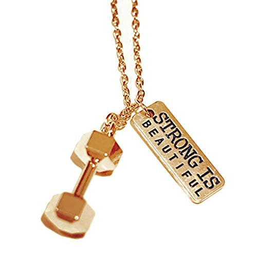 SENFAI Weightlifting Barbell Dumbbell Pendant Necklace for Fitness Fans 18