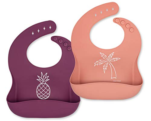 Ava + Oliver Silicone Bib Set – Waterproof Bibs Made with BPA Free Silicone – Perfect for Girls and Boys – Easy Clean Babies or Toddler Adjustable – Excellent Baby Shower Gift, Set of 2 (Peach/Purple)