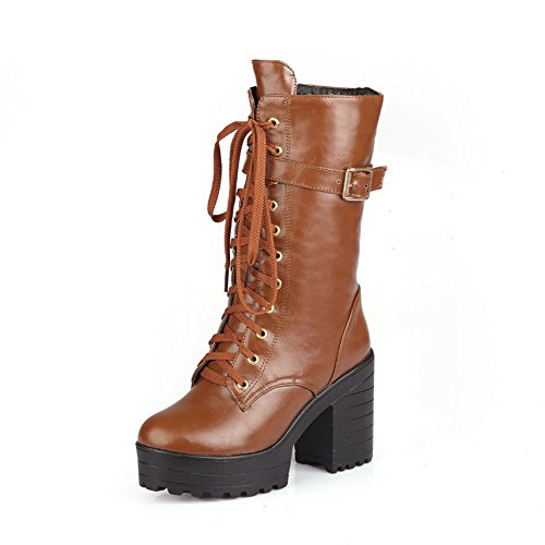 Warm Heel 1TO9 Adjustable Brown Strap Lace Boots Urethane Rubber Up Mid MNS02558 Waterproof Womens Platform Toe Lining Boots Closed wvSwCH