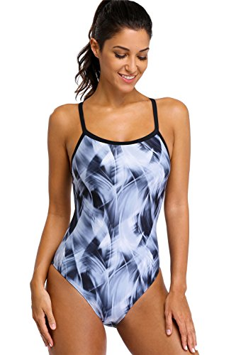 maysoul Women's Competitive One Piece Swimsuits Athletic Swimming Suits Grey 2XL