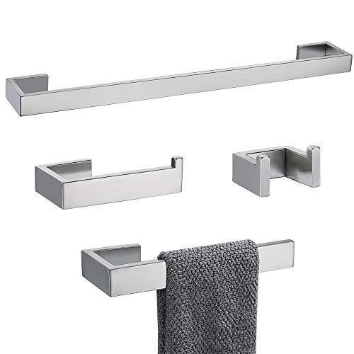 TNOMS 4 Pieces Bathroom Hardware Accessories Set Towel Bar Towel Holder Robe Hook Toilet Paper Holder Stainless Steel,Q8-P4BR (Sets Luxury Bathroom Accessories)