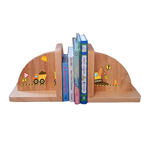 Personalized Construction Natural Childrens Wooden Bookends -
