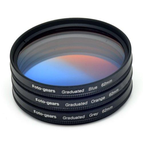 62mm Graduated Colour Filter set Graduated Grey + Blue + Orange Filter Kit by Foto-gears