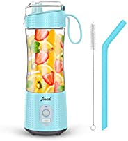 Portable Blender, Personal Size Blender Smoothies and Shakes, Mini Blender 4000mAh USB Rechargeable with Six B