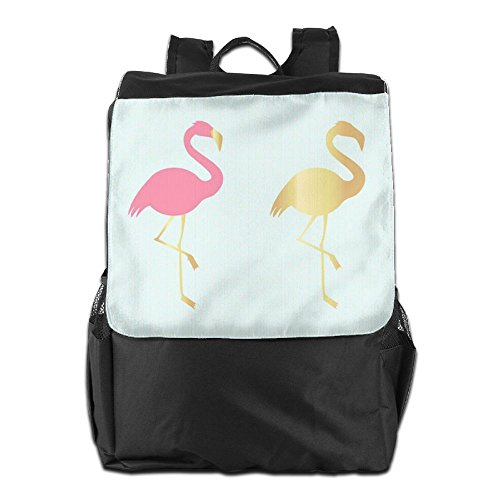 HSVCUY Personalized Outdoors Backpack,Travel/Camping/School-Pink And Gold Flamingos Adjustable Shoulder Strap Storage Dayback For Women And Men