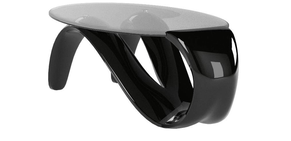 Fab Glass and Mirror Black Modern Style Mermaid Coffee Table, 45 by Fab Glass and Mirror