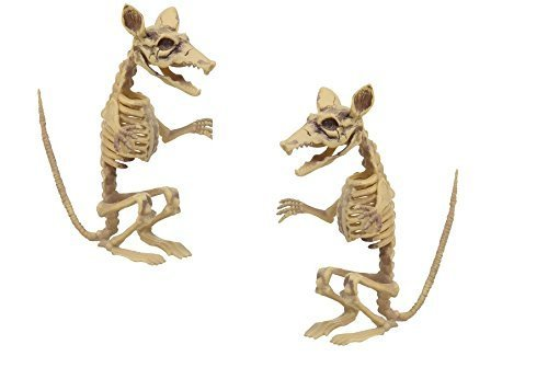 Rat Skeleton Halloween Prop Decoration Haunted House Party Decor Set Standing Movable Neck Jaw Plastic 2 pack ()