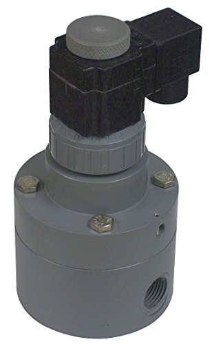 (Plast-O-Matic PS Series Polypropylene Pilot Solenoid Valve, For Acids and Highly Corrosive Liquids, 2 Ways, Normally Closed, EPDM Diaphragm, 35 Cv factor, 2