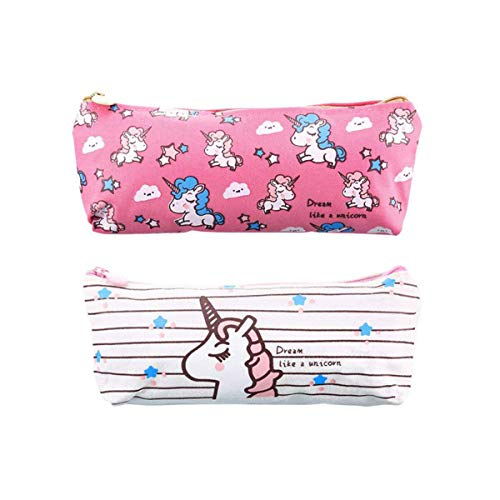 Unicorn Pencil Case Big Capacity Pen Bag Makeup Pouch Durable Students Stationery Zipper for Girls and Boys,Cute Back to School Supplies (Rose Red and White)