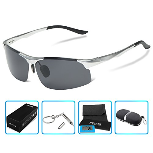 COSVER 8003 Men's Sports Style Polarized Sunglasses for Driving Fishing Golf Glasses (Silver, - Mens Sunglasses Golf