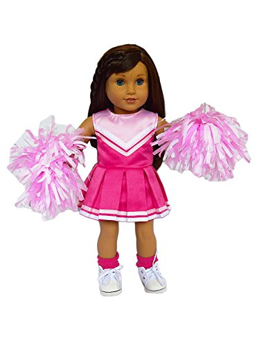 Brittany's Pink Cheerleader Outfit Compatible with American Girl Dolls Complete with Shoes and Socks- 18 Inch American Girl Doll Clothes