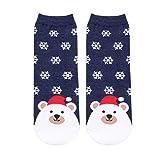 SUPVOX Christmas Socks Snowflake Sheep Pattern Winter Cotton Socks Xmas Party Gift Women Girls (Navy)