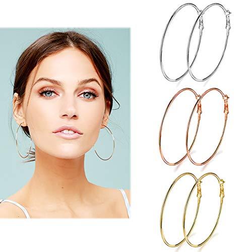 3 Pairs Big Hoop Earrings, Stainless Steel Hoop Earrings in Gold Plated Rose Gold Plated Silver for Women Girls(70mm)