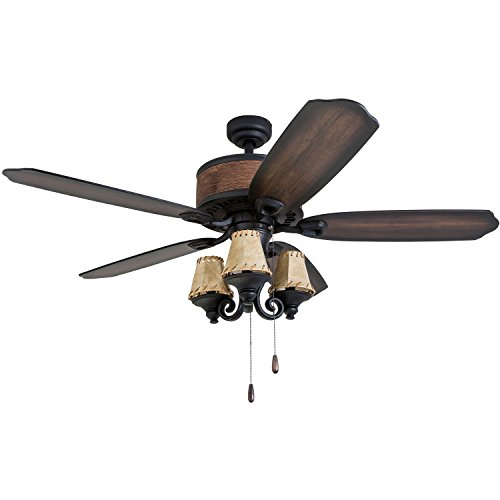 "Prominence Home 41110-01 Almer Point 52"" Lodge Ceiling Fan with 3-Light, Faux Leather Lamp Shades, Cabin Inspired Dark Elm/Chestnut Blades, Rustic Style, Matte Black"