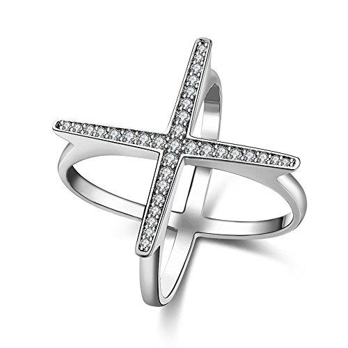 Unisex Charms Jewelry Platinum Plating Romantic Geometry Zircon Statement Rings