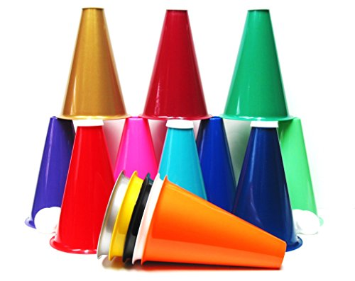 Plastic Megaphones, 8 Inches Tall and Caps (Pack 16), Multi Colors