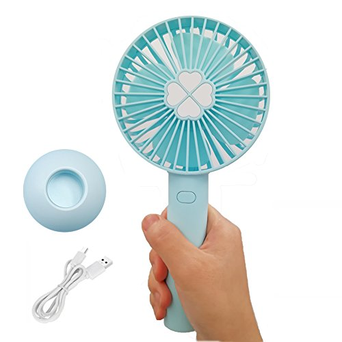Mini Handheld fan Small portable fans for women kids, USB Rechargeable Quiet with 2000mAh powerful Battery, 3 Speeds Personal electronic Cooling blower for Home Office Outdoor Travel (blue) by KKSHINE