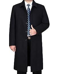 Mordenmiss Men's Winter Wool Coat Long Jacket Slim Fit Trench Overcoat