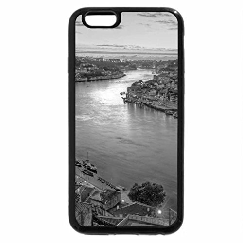 iPhone 6S Case, iPhone 6 Case (Black & White) - wondrous evening on a river in lisbon potugal