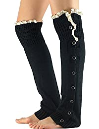 Womens Cable Knit Thigh High Crochet Boot Socks w/ Leg Warmers