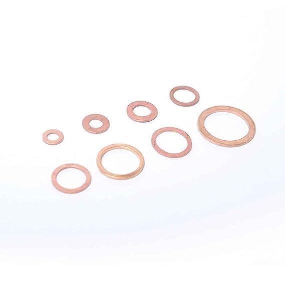 fgyhtyjuu 80PCS Solid Copper Crush Washers Spacer Flat Ring Oil Brake Sealing Kit M5//M6//M8//M10//M12//M14//M16//M20 Assorted 8 Sizes Gaskets