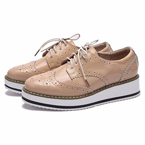 Moonwalker Zapatos con Cordones de Cuero Mujer Oxford Cuña (EUR 35,Blanco)