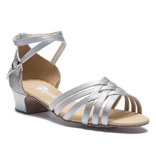 Rumpf 2951 Damen Anfänger Standard Latein Tanz Schuhe Satin silber und schwarz Silber