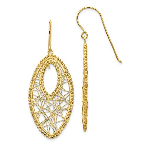 14k Yellow Gold Oval Web Drop Dangle Chandelier Earrings Fine Jewelry Gifts For Women For - Ring Spider Turquoise Web