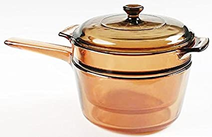 Amazon Com Corning Visions 1 5 Quart Double Boiler With Lid Amber